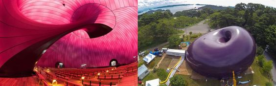 We like to imagine the giant bean-shaped inflatable, named Ark Nova, simply bouncing around Northeastern Japan but it's made from a single skin membrane that can be inflated and deflated for easy transport.