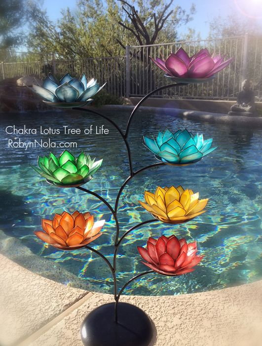 Chakra Lotus Tree Display stand with 7 Chakra Colored Lotus Ca