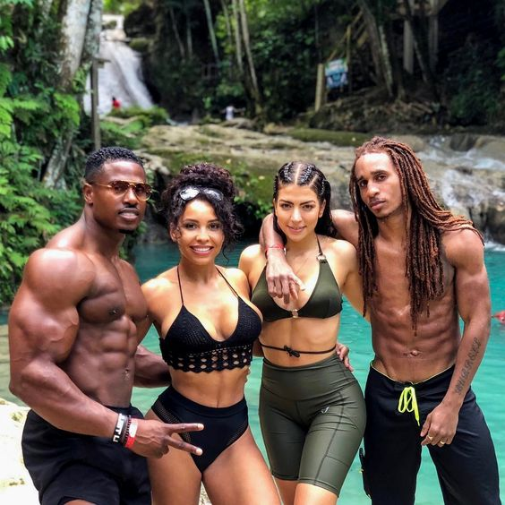 We spent the day at the Blue Hole in Ocho Rios with my boy @bangbangburrell and his wife @ma_lu_c they just flew in to Jamaica yesterday, so it was great to catch up with them. @chanelcocobrown and I fly back to LA tomorrow.