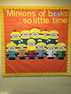 """Millions of books, so little time"" or is that ""Minions of books, so little time"". Thank goodness for cardboard minion glasses from the party section of the store. It saved me lots of time creating my little minions. Latest fall bulletin board for the school library. :)"