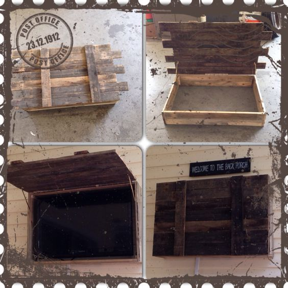 Recycled Pallet Outdoor TV Cabinet.