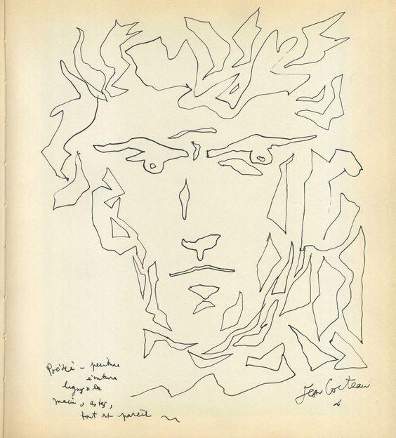 Bel autoportrait en noir et blanc de Jean COCTEAU en 1955 signé & lithographié