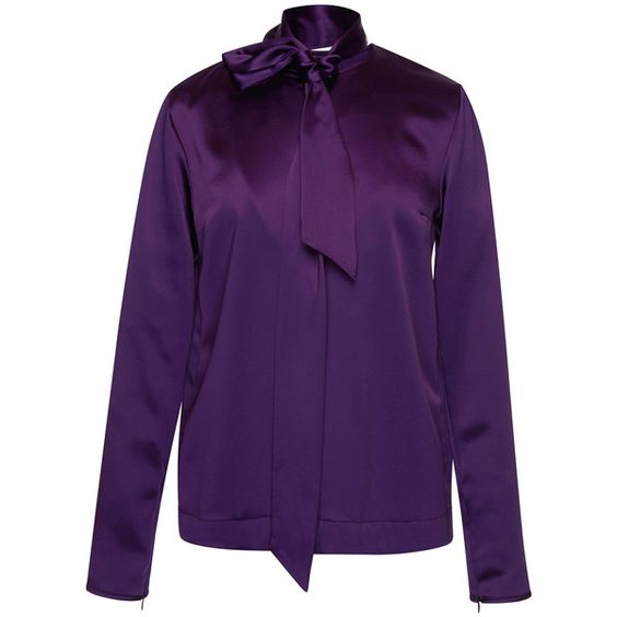 MSGM Satin Neck Tie Blouse (8221200 BYR) ❤ liked on Polyvore featuring tops, blouses, zip tie belt, long sleeve purple blouse, satin top, long sleeve blouse and neck ties