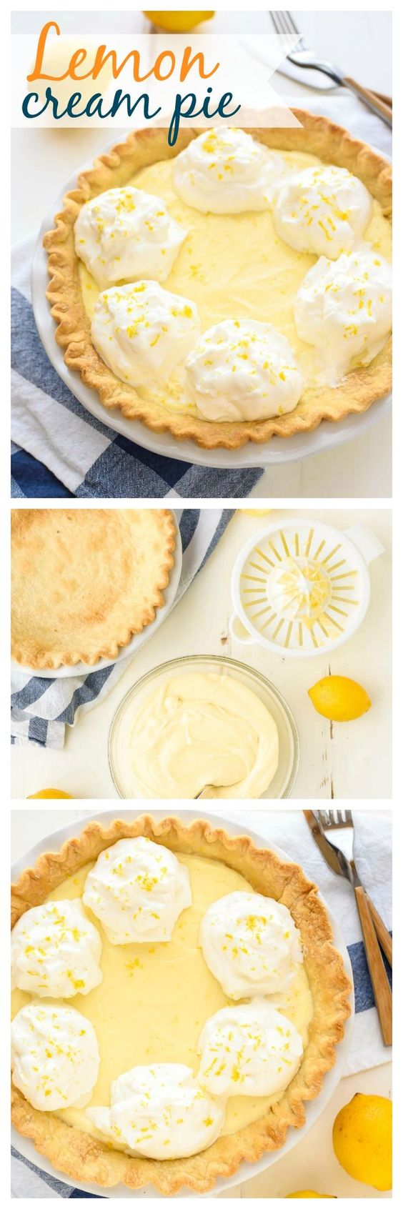 The BEST Lemon Cream Pie you will ever make and it's a perfect Easter dessert! Original recipe from my Grandma that has been in our family 50 years. Luscious, creamy, and made entirely from scratch. No lemon pie tastes better! www.wellplated.com @wellplated