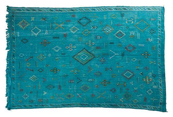 Turquoise blue. Moroccan Sabra Silk Kilim on OneKingsLane.com