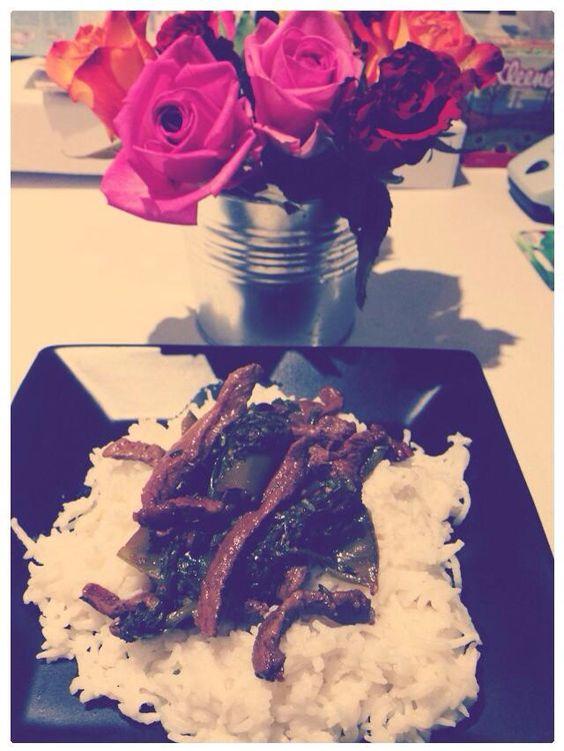 Beef w/ broccoli on top of coconut basmati rice:)