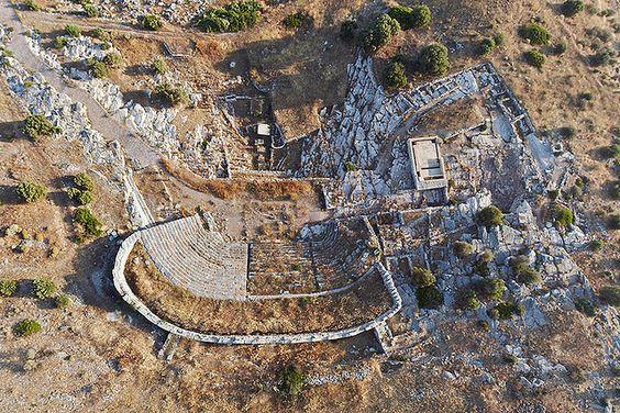 Ancient Greek theater of Thorikos - overhead view