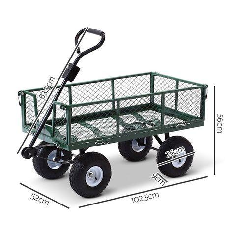 400kg Mesh Garden Cart Steel Removable Sides Trolley Wagon Atv Trailer Balck Gardeon Carrito Para Bicicleta Remolque Para Bicicleta Carro De Soldadura