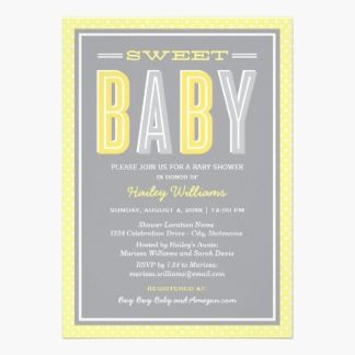 Baby Shower Invitation. Stylish and contemporary baby shower invitations that feature mixed typography with bold lettering in gender neutral shades - perfect for a boy or girl - of lemon yellow, sunshine yellow and silver against a gray background. Stripe and polka dot pattern accents.