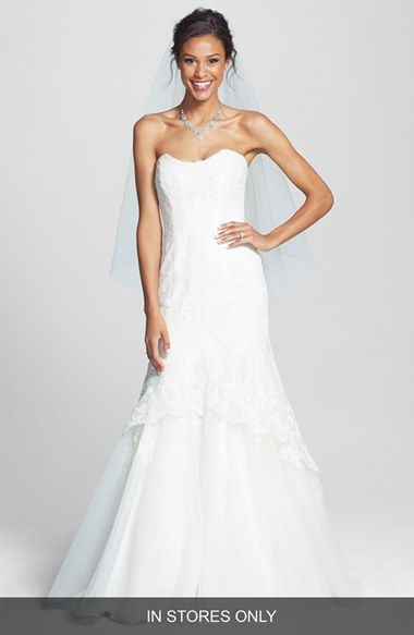 BLISS Monique Lhuillier Lace Overlay Tulle Trumpet Wedding Dress (In Stores Only) available at #Nordstrom