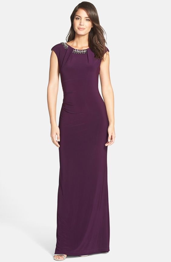 VINCE CAMUTO Beaded Cap Sleeve Gown
