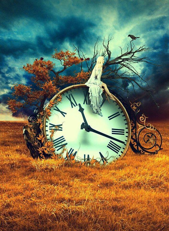 Girl sitting on a clock in the middle of a field surreal art