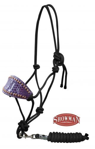 Purple gator print bronc nose rope halter from www.spoilmyhorse.com $25