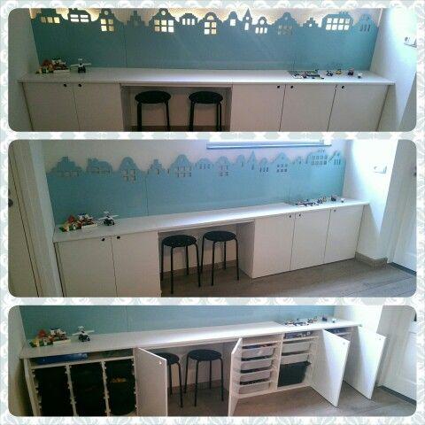 Speelgoed lego kast in de kast zitten ikea stofast opbergbakken achter de huisjes van mdf zit - Tafel woonkamer van de wereld ...