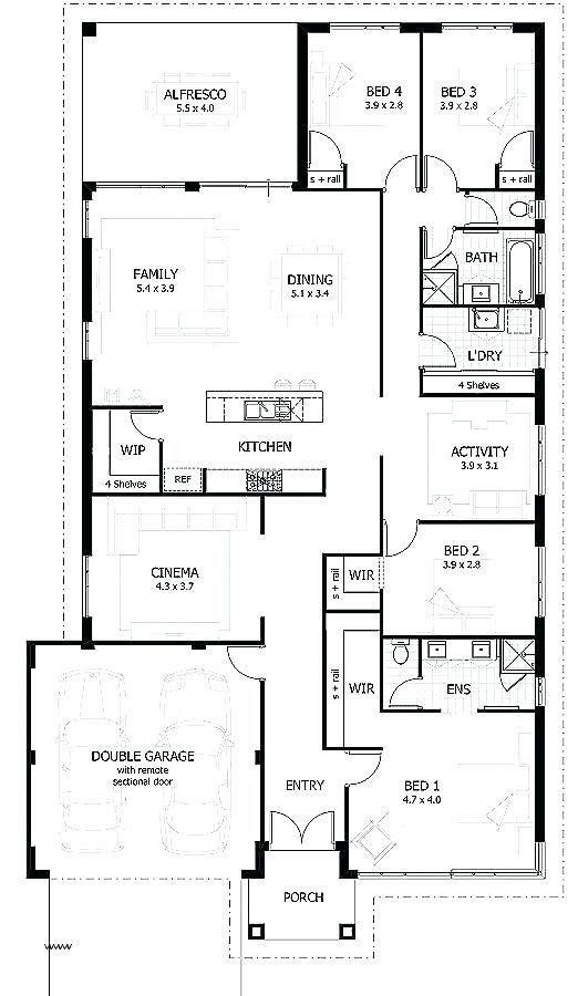 4 Bedroom Modern House Floor Plans Rectangular House Plans Modern Modern 4 Bedroom House Floor Modern House Floor Plans House Floor Plans Ranch House Plans