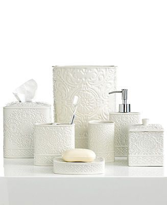 Master bath kassatex bath accessories damask trash can for Master bath accessories
