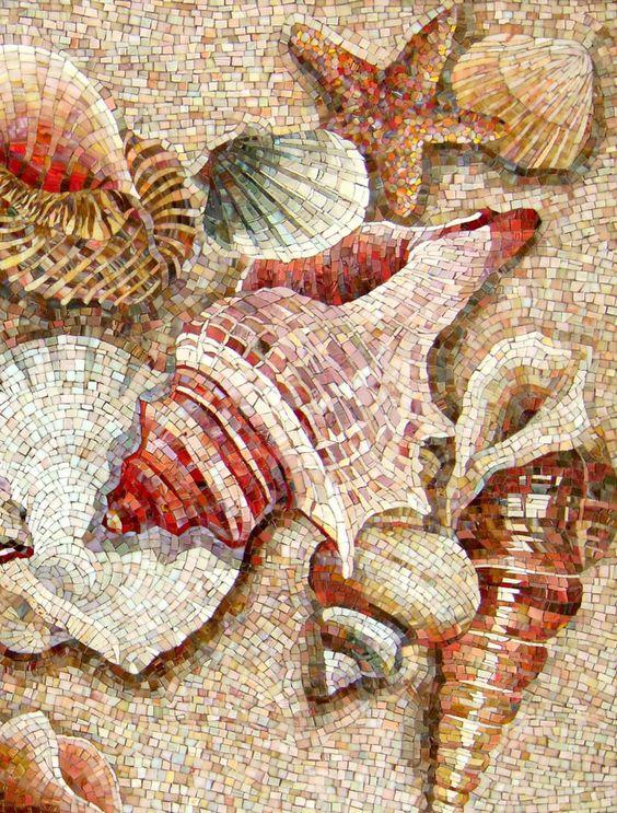Community mosaic board by i c mosaics for Seashell mosaic art