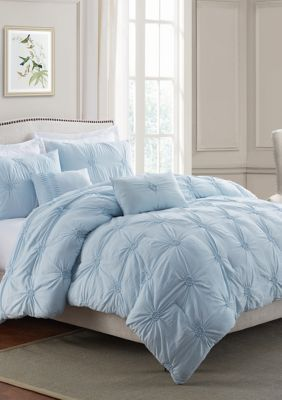 Swift Home Luxious Floral Pintuck Comforter Set In 2020 Aesthetic Bedroom Blue Room Decor Baby Blue Bedrooms