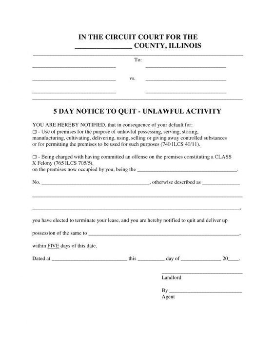 Illinois 5 Day Notice To Quit Form - Unlawful Activity