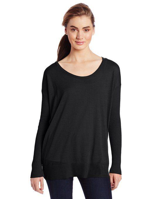 Margaret O'Leary Women's Whisper Scoop Sweater, Black, Medium
