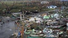 Houses destroyed by strong winds in Tacloban