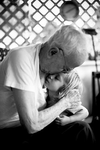 A world of trouble is silenced by one kiss from Grandpa.: