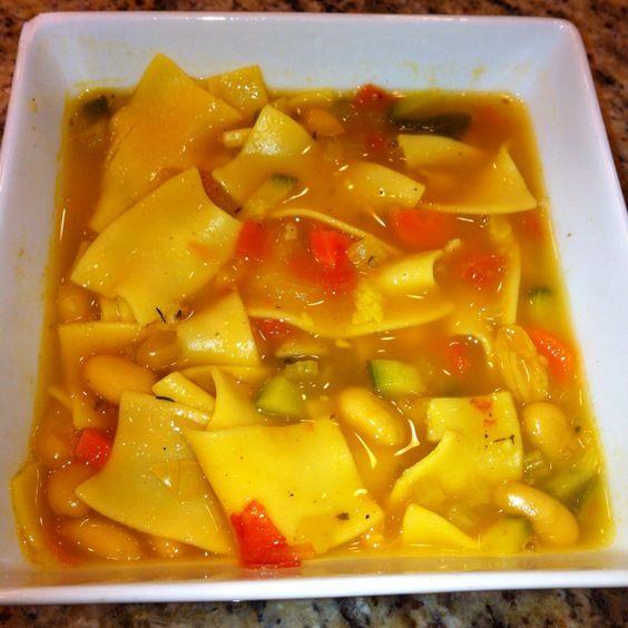 Tuscan soup w/egg noodles