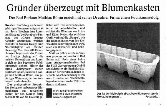 Hurra Hurra, unser erster Zeitungseintrag und dass dieser aus meiner alten Heimat ist, freut mich besonders. Auf dass noch viele weitere folgen werden! Ganz nebenbei unsere Raupe wurde wirklich gut getroffen.  #Presse #TA #Thüringen #Weimar #Zeitung