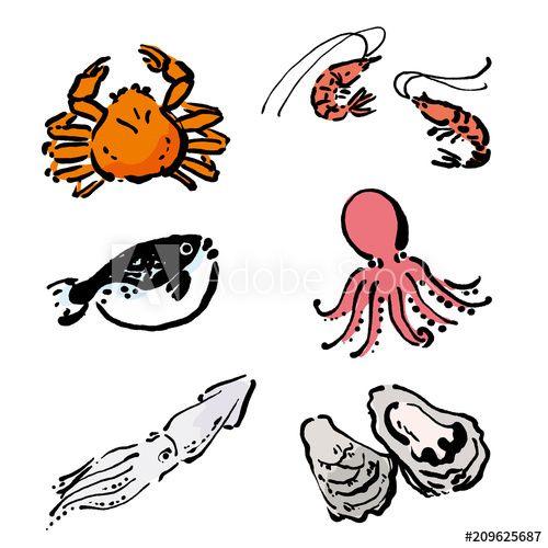 海鮮 イラスト 蟹 牡蠣 えび 手描き セット Adobe Stock でこのストックベクターを購入して 類似のベクターをさらに検索 Adobe Stock 魚イラスト イラスト 筆 イラスト