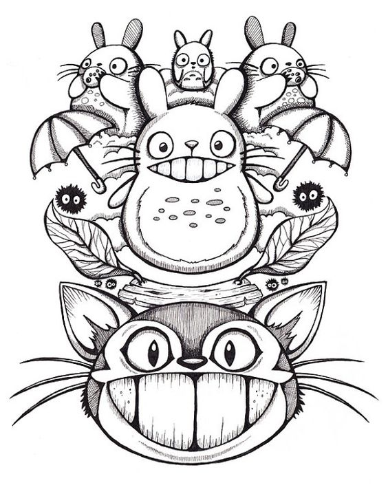 Line Art Studio Serpong : Totoro dessins à l encre and on pinterest