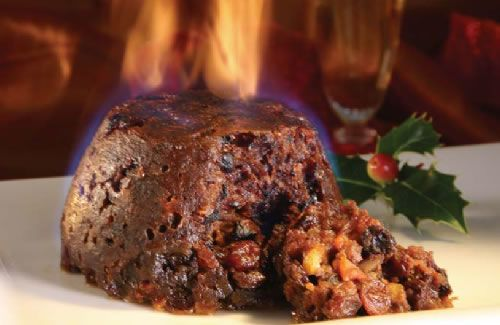 Christmas pudding... ablaze!