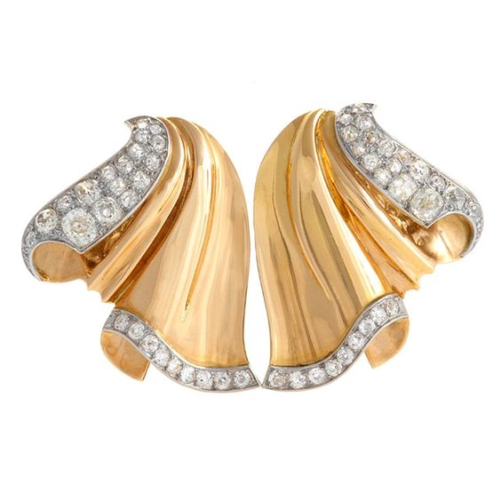French Retro Gold and Diamond Double Clip/Brooch