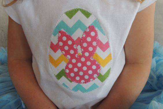 Colorful Chevron Easter Egg and Bunny Silhouette Applique Shirt. $18.00, via Etsy.