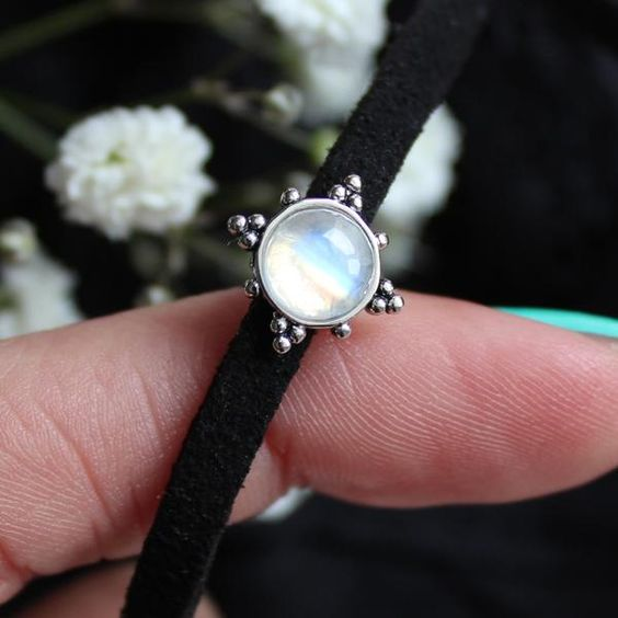 ❉ Sunset Lovers presents another magical moonstone choker! ❉ ✒ Shop The Magic Now @ www.shopdixi.com // boho // bohemian // jewellery // jewelry // grunge // witchy // goth // gothic // hippie // summer // ocean // beach // moonstone // choker // rainbow // enchanting // magical