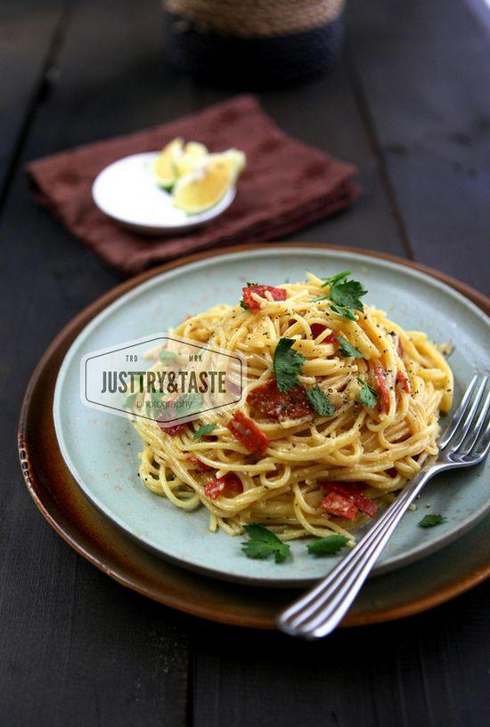 Resep Spaghetti Alla Carbonara Spageti Resep Masakan Makanan Dan Minuman