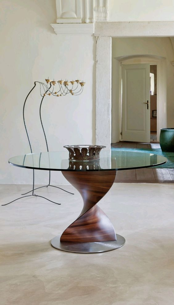 Glass Dining Table, Round Glass And Wooden Tops On Pinterest