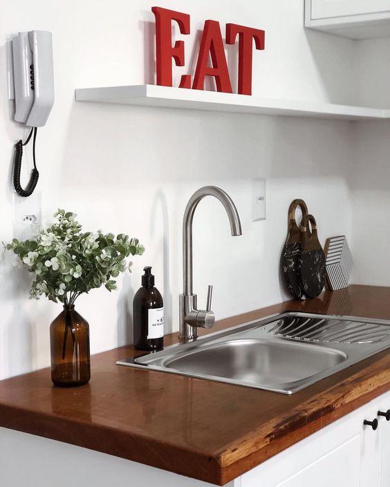 cozinha, bancada de madeira, cozinha escandinava, scandinavian decor. #decoração