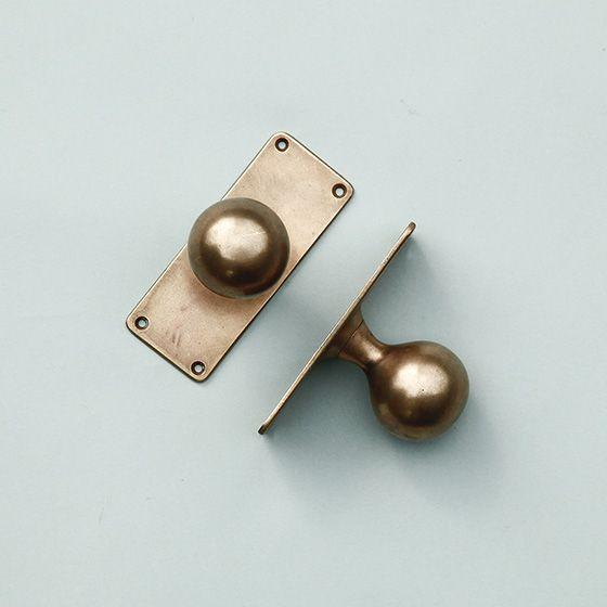 真鍮ドアノブ アンティーク 座金が長方形 店舗 住宅ドアなどに Bb177 アンティーク オールディーズ オンラインストア