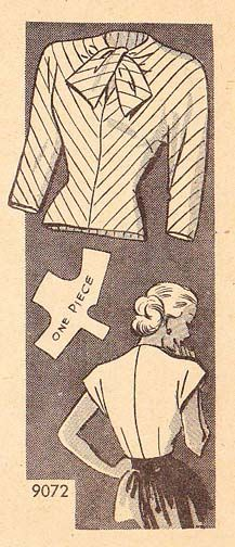 "B50-9072 Kimono Style Blouse, circa 1950's  Bust size 32"", waist size 26-1/2"", hip size 35"".    This pattern comes with diagrammatic and textual information on re-sizing."
