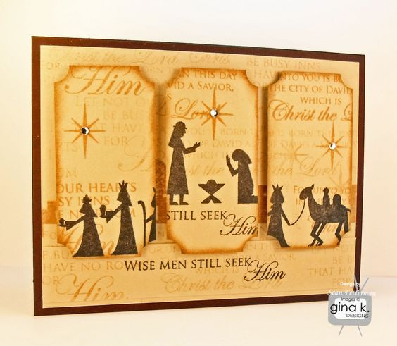 """Wise Men Still Seek Him"" made with:    - Gina K Designs ""City of David"" by Beth Silaika stamp set  - Gina K. Designs Pure Luxury Chocolate Brown card stock  - Gina K. Designs Pure Luxury Sandy Beach card stock  - Memento Inks in Peanut Brittle  and Tuxedo Black  - Clear gem stones    Stamp TV Gallery: http://stamptv.ning.com/photo/wise-men-still-seek-him?context=user"
