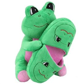 Green Froggy Plush Slippers Green Frog Toy Included 100% Polyester