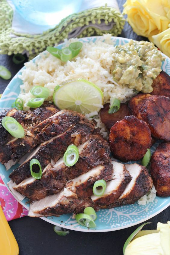 ... Plantains!! Baked Jerk Chicken with Coconut Rice & Cinnamon Sweet