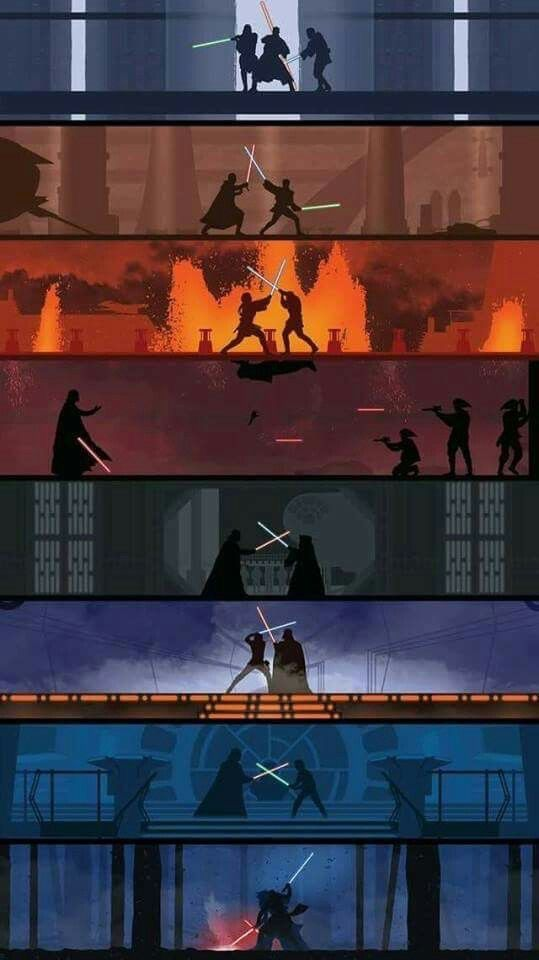 A Poster Showing The Various Lightsaber Battles In The Star Wars Movie Series The Poster Has A Very Clean De Star Wars Pictures Star Wars Fandom Star Wars Art