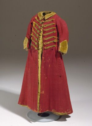 Young boy's short coat, from around 1740. This is what boys aged 4-5 would wear before they were breeched.