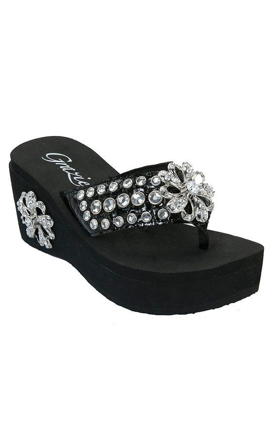 Grazie® Ladies Ferriswheel Black with Flower Bling Flip Flops   Cavenders Boot City