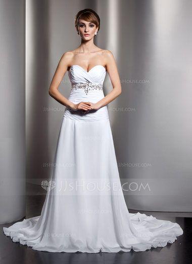 A-Line/Princess Sweetheart Chapel Train Chiffon Wedding Dress With Ruffle Beading Sequins (002011407) - JJsHouse