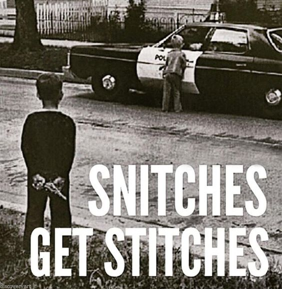 Snitches get Stitches Stretched Canvas Wall Art Poster Print Gangster Children: