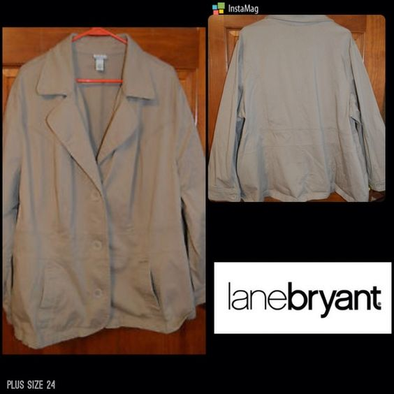 NWT Plus Size Lane Bryant tan/beige jacket Lane Bryant is good quality great material NWT extra buttons of course tan beige 3 buttons down front two front pockets Venezia line at lane Bryant size 24 true to size solid thick 98% cotton 2% spandex  beautiful light jacket Lane Bryant Jackets & Coats