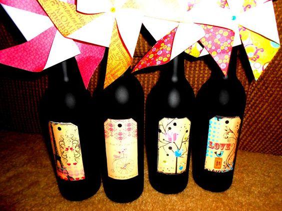 Chalkboard spraypaint, wine bottles, printable labels, and some pinwheels for effect! photo pinterest_zps5cb5b995.jpg