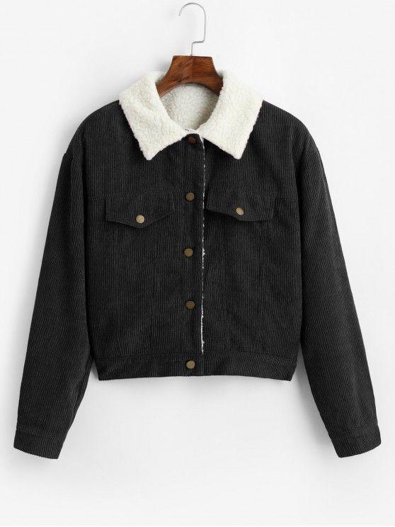 ZAFUL Fuzzy Corduroy Jacket BLACK CARAMEL in 2020   Corduroy